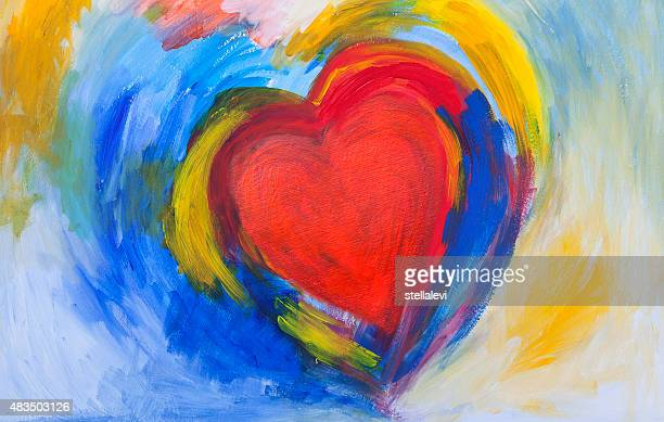 painting of red and blue abstract heart - passion stock illustrations