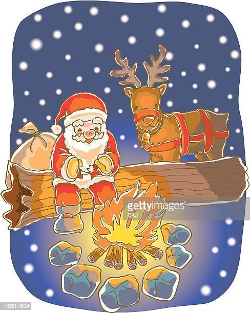 Painting of Santa Claus and reindeer by the fire, Illustration