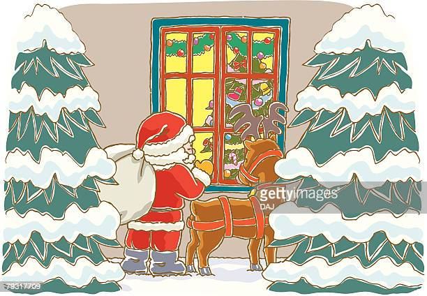 Painting of Santa Claus and reindeer watching inside the house, Illustration