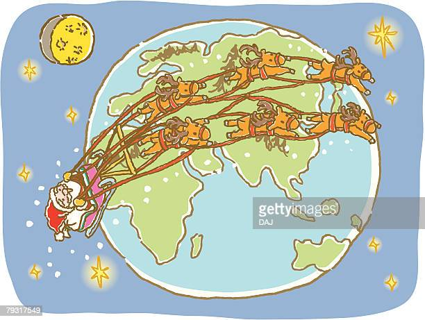 painting of santa claus and reindeers flying around the earth, illustration - tobogganing stock illustrations, clip art, cartoons, & icons