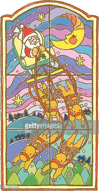 Painting of Santa Claus and reindeers traveling above hills, Illustration