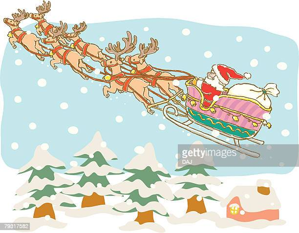 Painting of Santa Claus flying with reindeers, Illustration