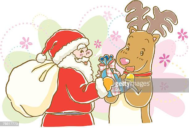 Painting of Santa Claus giving Christmas Present to reindeer, Illustration