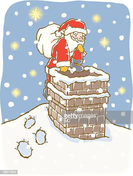 Painting of Santa Claus going into chimney pipe to deliver Christmas presents, Illustration