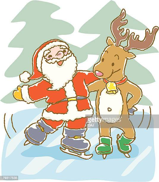 Painting of Santa Claus ice skating with reindeer, Illustration