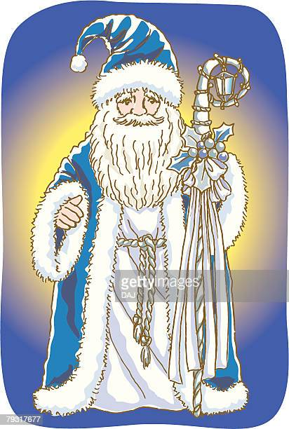 Painting of Santa Claus in blue costume, Illustration