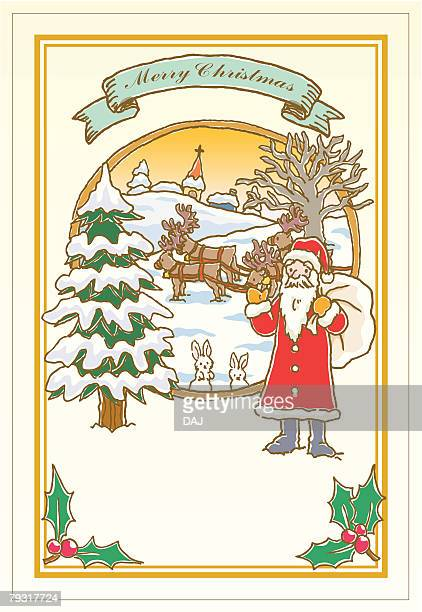Painting of Santa Claus waving hand, Illustration