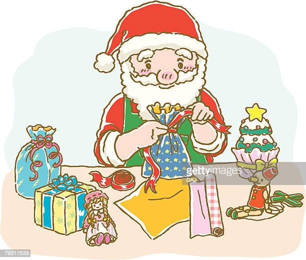 Painting of Santa Claus wrapping up Christmas presents, Illustration