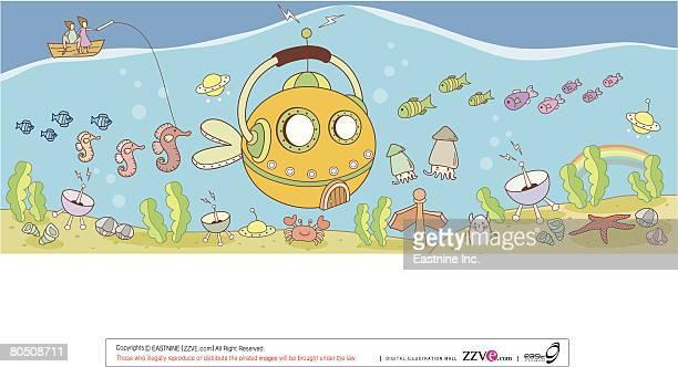 ilustraciones, imágenes clip art, dibujos animados e iconos de stock de painting of sea life - grupo grande de animales