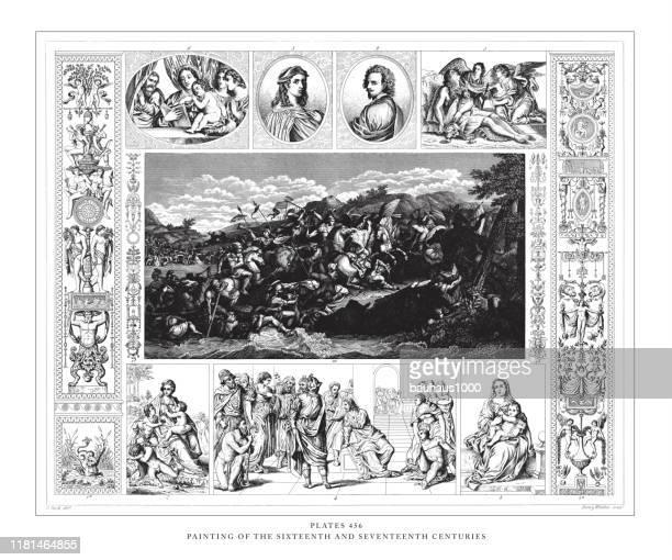 illustrazioni stock, clip art, cartoni animati e icone di tendenza di dipinto dell'illustrazione antica dell'incisione del xvi e xvii secolo, pubblicato nel 1851 - michelangelo merisi da caravaggio