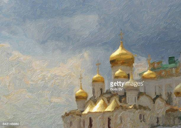 illustrations, cliparts, dessins animés et icônes de painting of the the annunciation cathedral, kremlin - lannonciation