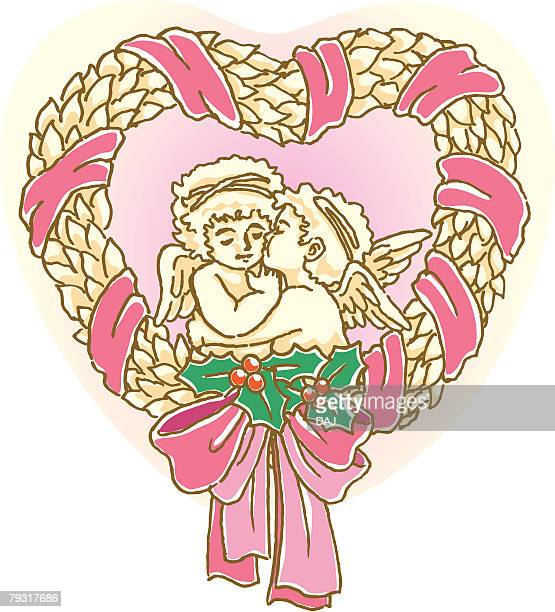 painting of two angels kissing in christmas wreath, illustration - animal limb stock illustrations, clip art, cartoons, & icons