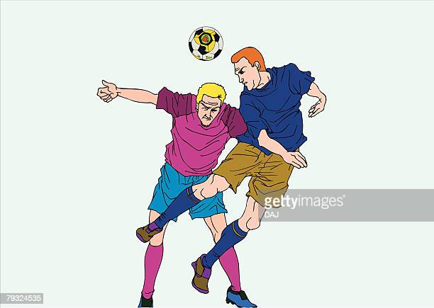 painting of two football players playing game, illustration - heading the ball stock illustrations