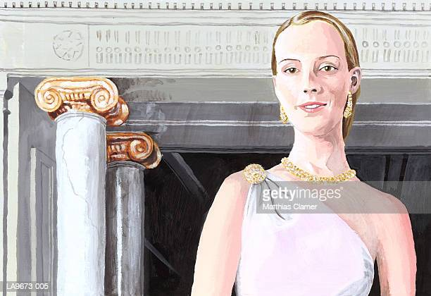 painting of young woman wearing jewellery, portrait - classical greek style stock illustrations