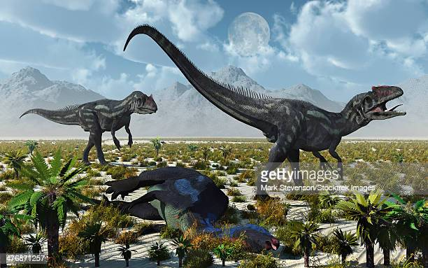 A pair of carnivorous Allosaurus dinosaurs with a freshly killed Camptosaurus dinosaur.