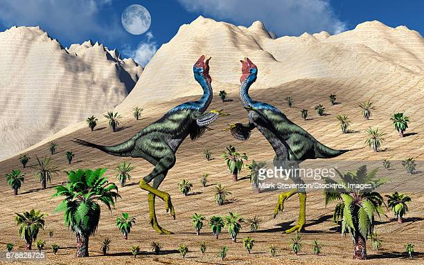 A pair of Caudipteryx feathered dinosaurs involved in a mating ritual.