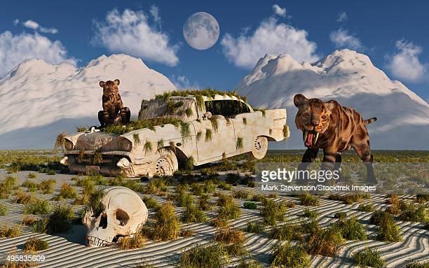 A pair of curious Sabre-toothed Tigers come across a 1950's American Chevrolet during the Pleistocene Age.