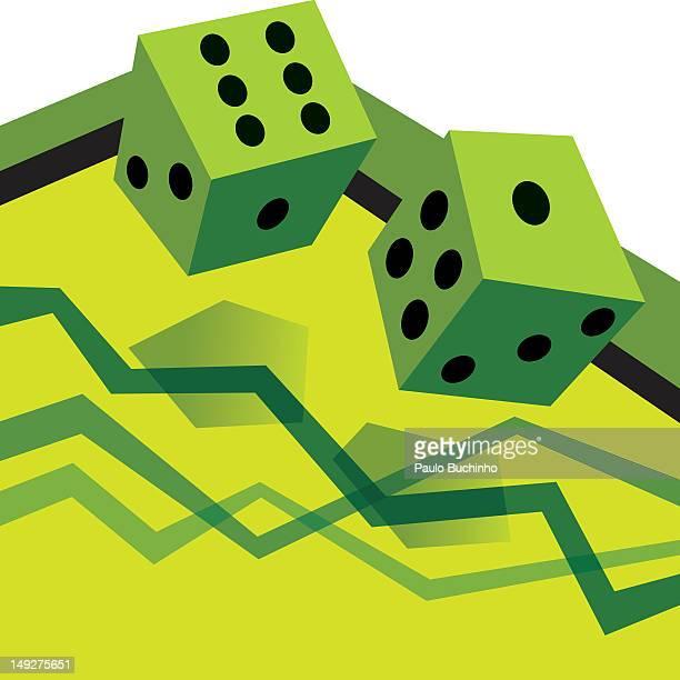 ilustrações de stock, clip art, desenhos animados e ícones de a pair of dice above a graph - buchinho