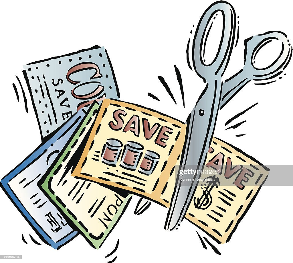 A pair of scissors cutting a coupon : stock illustration