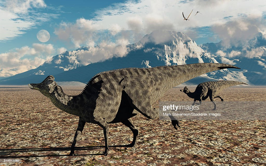 A pair of Velafrons hadrosaurid dinosaurs from the Cretaceous Period. : stock illustration
