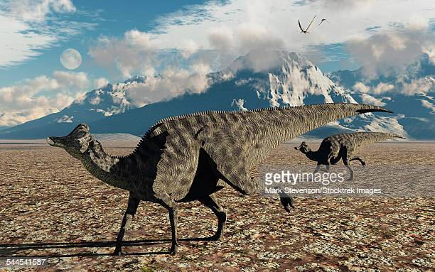 A pair of Velafrons hadrosaurid dinosaurs from the Cretaceous Period.