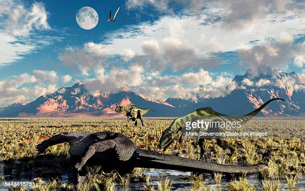 A pair of Yangchuanosaurus about to eat the remains of a dead Omeisaurus dinosaur.