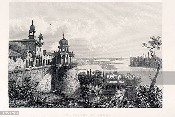 palace at agra - onion dome stock illustrations, clip art, cartoons, & icons