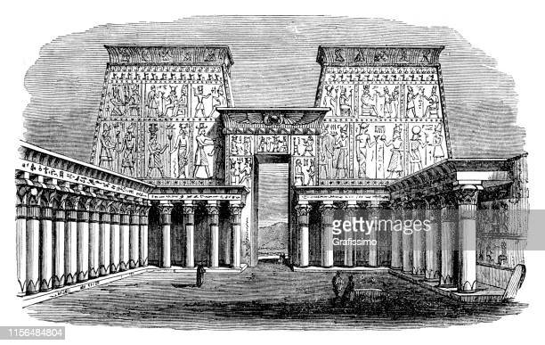 palace at edfu in egypt - ancient egyptian culture stock illustrations