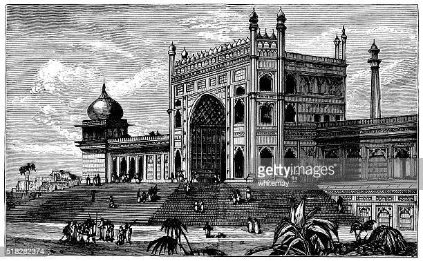 palace in delhi (jama masjid) - friday mosque stock illustrations