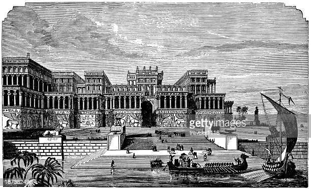 palace of nineveh - ninawa stock illustrations