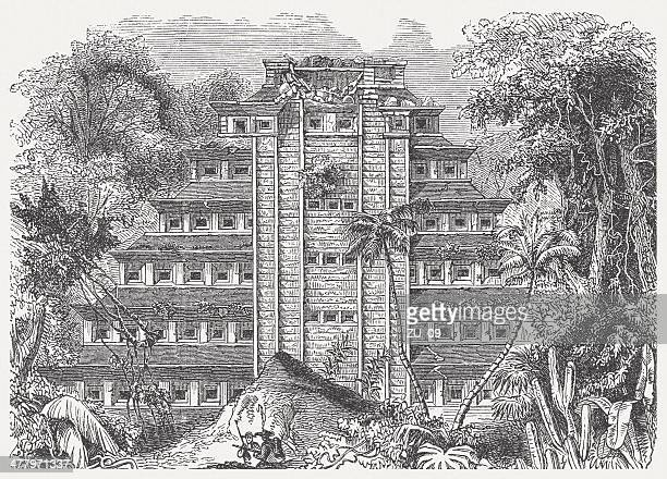 Palace of Sayil, Yucatán, Mexico, wood engraving, published in 1876