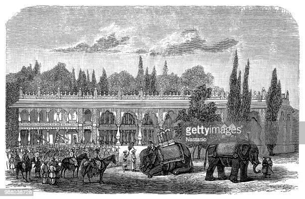 palace of sultan tippu sahib to seringapatam - karnataka stock illustrations