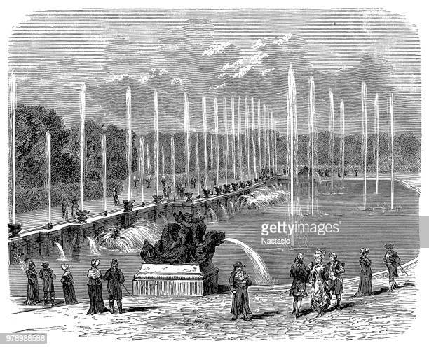 palace of versailles fountain - louis xiv of france stock illustrations, clip art, cartoons, & icons