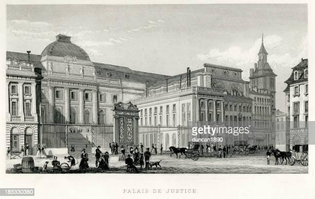 ilustrações, clipart, desenhos animados e ícones de palais de justice, paris - século xix
