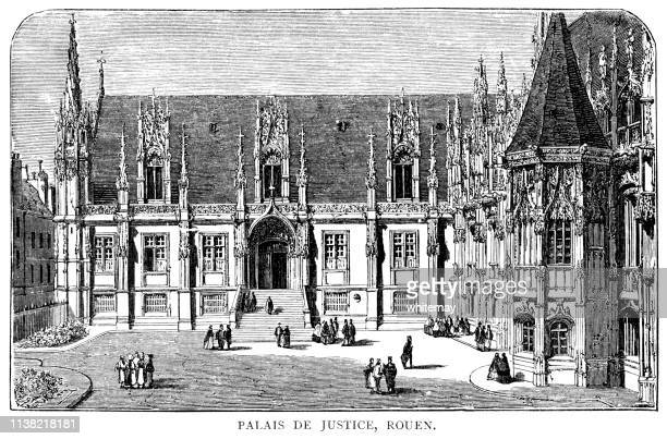 palais de justice, rouen, france - rouen stock illustrations, clip art, cartoons, & icons