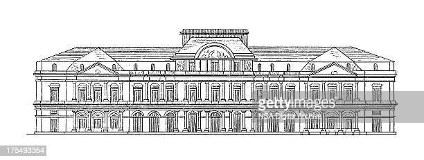 palais-royal, paris, france   antique architectural illustrations - palais royal stock illustrations