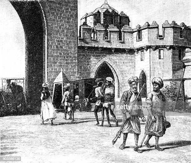 palankin bearers at a city gate in india - sedan stock illustrations, clip art, cartoons, & icons