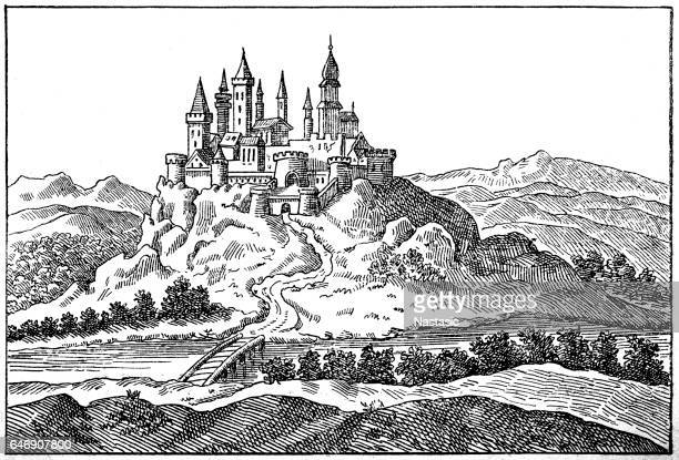 palanok castle or mukachevo castle - chapel stock illustrations, clip art, cartoons, & icons