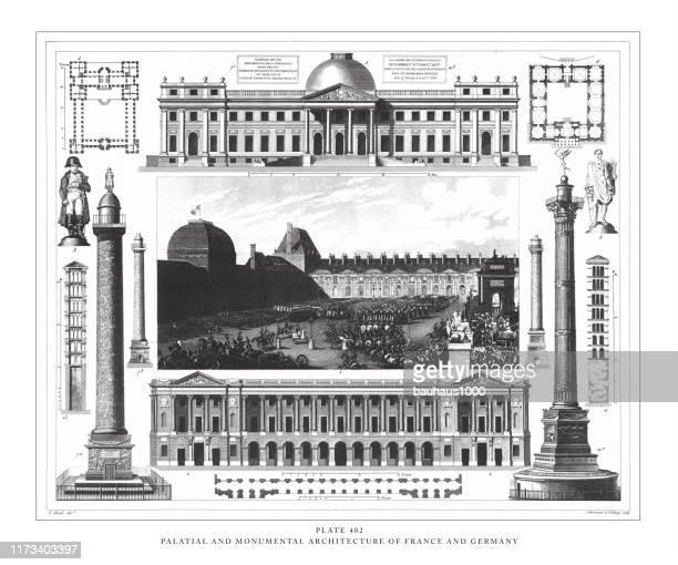 フランスとドイツの宮殿と記念碑的な建築アンティークイラスト、1851年発行 - ヴァンドーム広場点のイラスト素材/クリップアート素材/マンガ素材/アイコン素材