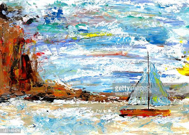 Palette knife painting of sailboat with cliff and sky  background.