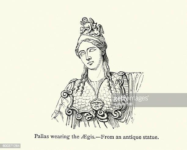 pallas athena wearing the aegis - roman goddess stock illustrations, clip art, cartoons, & icons