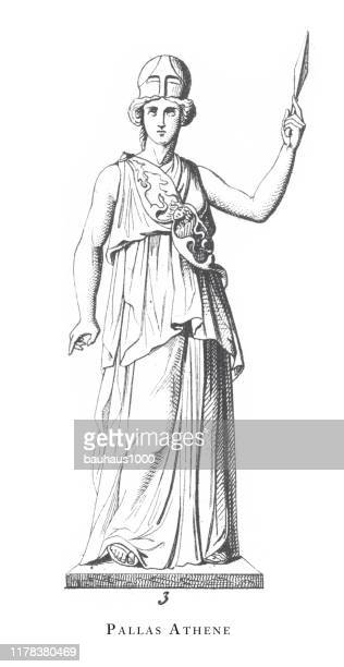 pallas athene, greek and roman gods and religious paraphernalia engraving antique illustration, published 1851 - classical greek style stock illustrations
