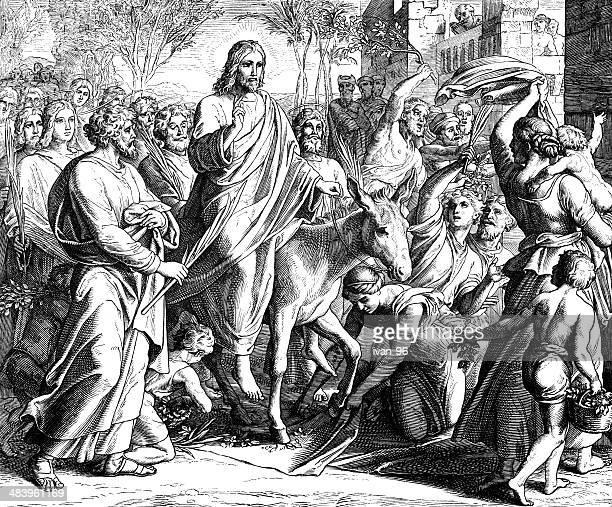 ilustrações, clipart, desenhos animados e ícones de palm domingo entrada de jesus - domingo de ramos