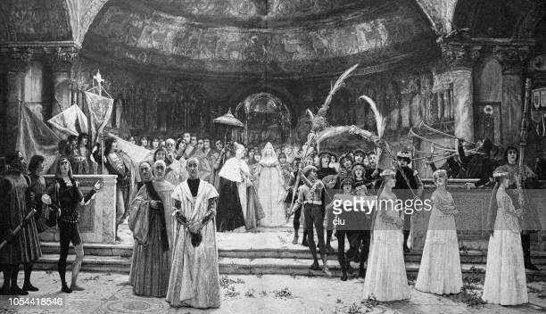a palm sunday in venice under the doge foscari - religious occupation stock illustrations