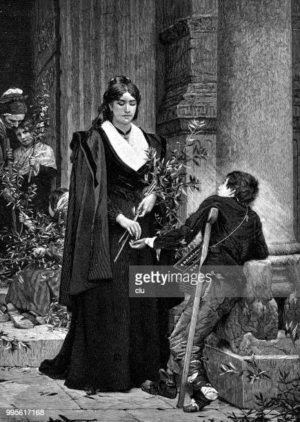 palm sunday: young lady donates to an injured teenager - palm sunday stock illustrations