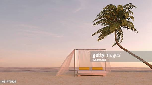 palm tree and canopy bed on the beach at dusk, 3d rendering - sunset stock illustrations