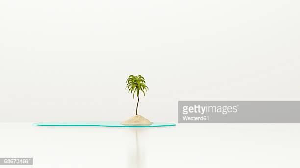 Palm tree on lonely island, 3d rendering