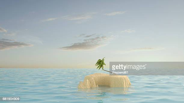 palm tree on lonely island - island stock illustrations