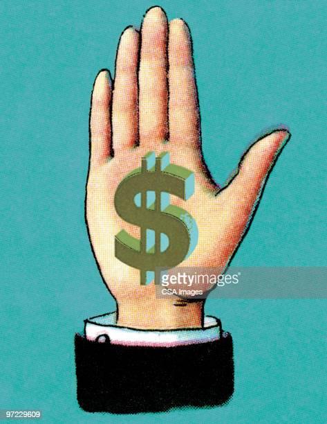 palm with money symbols - paycheck stock illustrations, clip art, cartoons, & icons