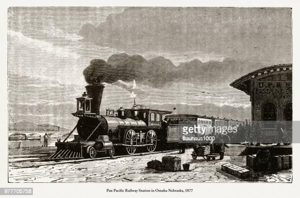 pan pacific railway station in omaha nebraska, 1877 - steam train stock illustrations
